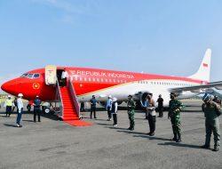 Jokowi Kunker Perdana Gunakan Pesawat Merah Putih